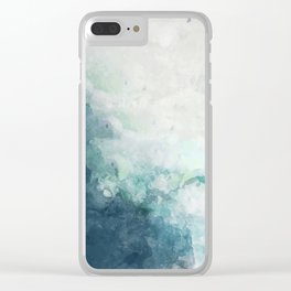 Coastal Beach Art Watercolor Indigo Blue and White Clear iPhone Case