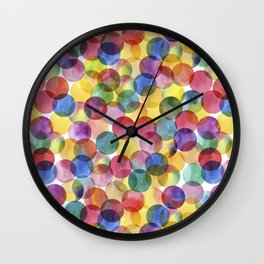 Multi-Color Watercolor Paint Dabs Pattern Wall Clock