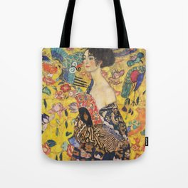 Gustav Klimt Lady With Fan  Art Nouveau Painting Tote Bag
