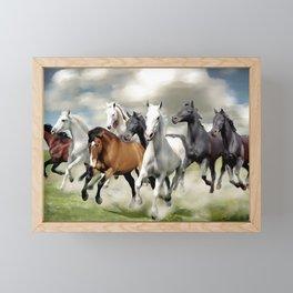 8 Horses Running Framed Mini Art Print