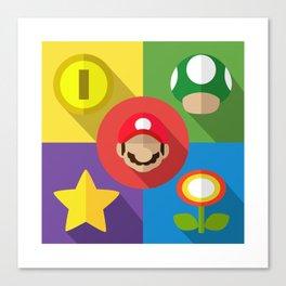 Super Mario flat Canvas Print