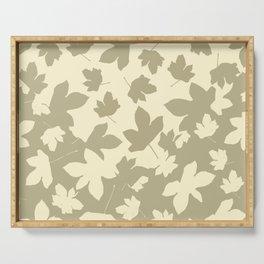 Envelope leaves decor. opposite.oive-green. off-white. Serving Tray