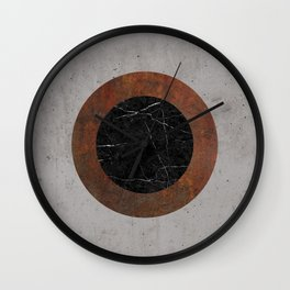 Concrete, Rusted Iron, and Black Marble Abstract Wall Clock