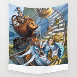 Steampunk Alice in Wonderland Teacups Wall Tapestry