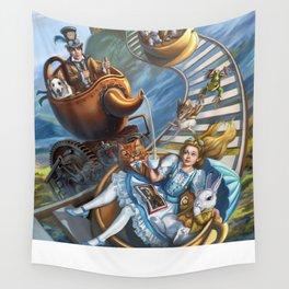 Steampunk Alice in Wonderland Teacups Wall Tapestry
