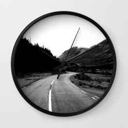 Road through the Glen - B/W Wall Clock