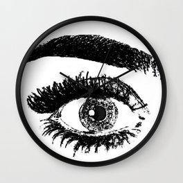 eye black & white Wall Clock