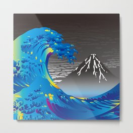 Hokusai Great Wave & Mt. Fuji in the Rainy Sky Metal Print