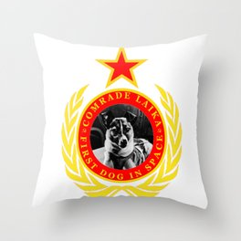 Comrade Laika First Dog In Space Throw Pillow