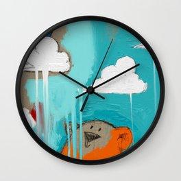 orange bear with red bird in progress Wall Clock