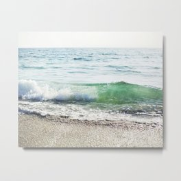 Aqua Waves in California Metal Print