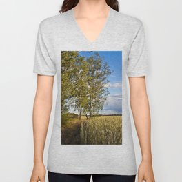 Corn Field with Birch Trees Unisex V-Neck