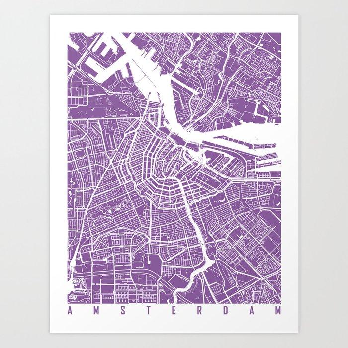 Amsterdam map lilac Art Print