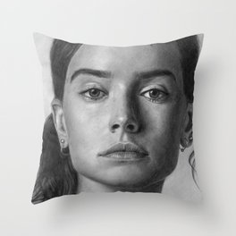 Daisy Ridley Portrait Throw Pillow