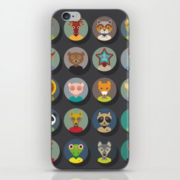 animals faces circle icons set in Trendy Flat Style. zoo iPhone Skin