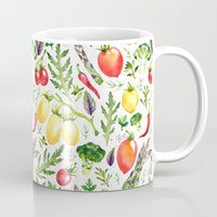 vegetables Mugs featuring Watercolor vegetables by Achtung