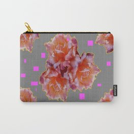 Grey & Violet Design & Old Rose flowers Pattern Art Carry-All Pouch