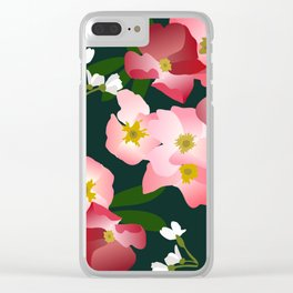 Pink Roses and Cherry Blossoms Clear iPhone Case