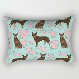 Kelpie florals dog breed cute gifts pattern dog lover pet portraits pet friendly designs Rectangular Pillow