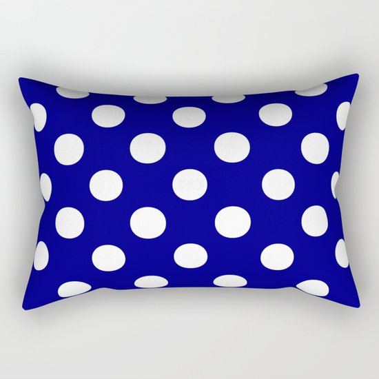 Polka Dots (White/Navy Blue) Rectangular Pillow