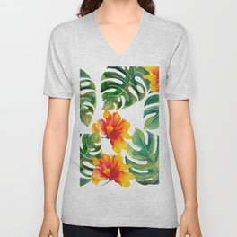 Monstera And Hibiscus Unisex V-Neck