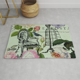 botanical butterfly garden roses french mannequin fashion paris Rug