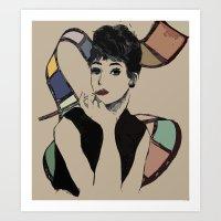 hepburn Art Prints featuring hepburn by jollyjgiant