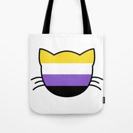 Non-Binary Flag Cat  Tote Bag
