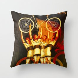 Vintage Olympique Bicycle Ad Throw Pillow