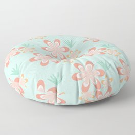 Retro Tropical Flowers Floor Pillow