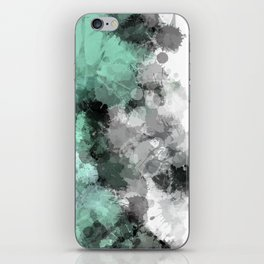 Mint Green Paint Splatter Abstract iPhone Skin