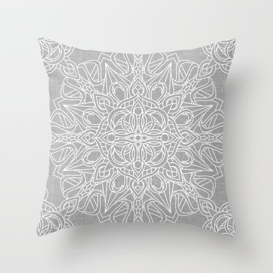 White Mandala on Grey Linen Throw Pillow by Kelly Dietrich Society6