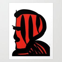 Red Man Black Stripes  Portrait Minimalist  Art Print