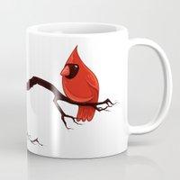 cardinal Mugs featuring Cardinal by David Lanham