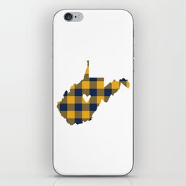 West Virginia Buffalo Plaid Outline iPhone Skin