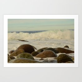 White tide waves.  Stone Coast of the North Sea. Art Print