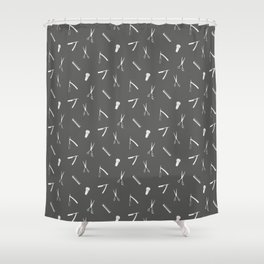 Barbershop pattern shaving razor, brushes and scissors Shower Curtain