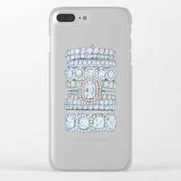 Pink diamonds rings Clear iPhone Case