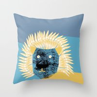 leon Throw Pillows featuring Lion leon by yael frankel