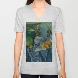 """Paul Cezanne """"Still Life with a Ginger Jar and Eggplants"""" Unisex V-Neck"""