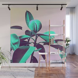 Iridescent Green Leaves Wall Mural