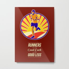 Marathon Runner Retro Poster Metal Print