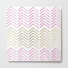 Pink faux gold watercolor tribal chevron pattern Metal Print