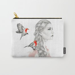 Girl with red robins Carry-All Pouch