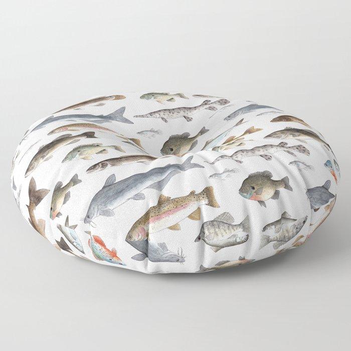 A Few Freshwater Fish Floor Pillow
