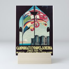 posters campioni europei di scherma aprile 1929 napoli drapeau Mini Art Print