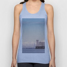 Miramar Castle with Italian Alps in background. Trieste Italy Unisex Tank Top