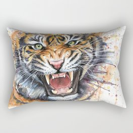 Tiger Roaring Wild Jungle Animal Rectangular Pillow