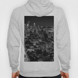 Seattle from the Space Needle in Black and White Hoody