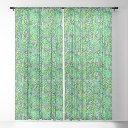 Pink Clover Flowers on Green Field, Floral Pattern Sheer Curtain